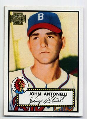 1952 Topps JOHN ANTONELLI Baseball Card 140 Boston Braves 2001 Archives REPRINT