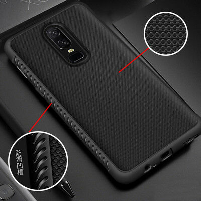 For OnePlus 6, Luxury Anti-Skid Shockproof Slim Soft Rubber Business Cover Case