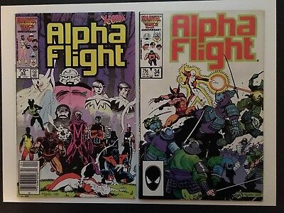 Alpha Flight #33 and #34 2 book lot (1st and 2nd Lady Deathstrike) Marvel 1986