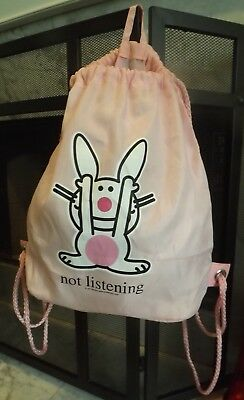 Happy Bunny Drawstring Backpack Bag  Pink -NOT LISTENING -Jim Benton Very Good !