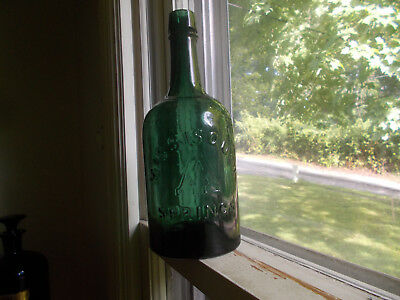 MISSISQUOI A SPRING TEAL GREEN QUART 1870s MINERAL WATER BOTTLE SHELDON,VT
