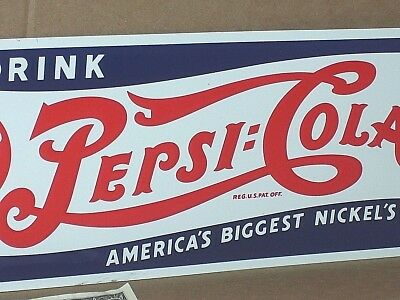 PEPSI-COLA - Gas Station SCREEN DOOR or SHELF EDGE DRINK SIGN - Red- White- Blue