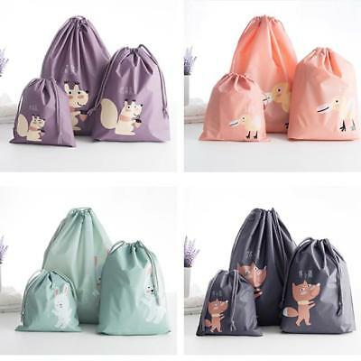 3Pcs Lot Home Laundry Shoe Travel Pouch Tote Drawstring Waterproof Storage Bag C