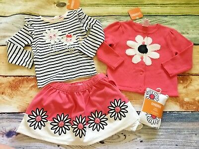 Gymboree 18-24 Set Kitty in Pink Striped Daisy Top Skirt Tights Sweater NWT