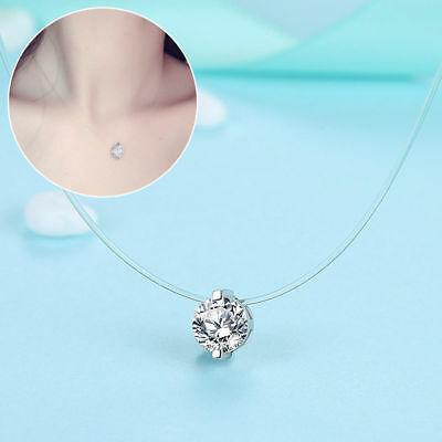 Fashion Crystal Necklace Invisible Line Zircon Clavicle Chain Women Jewelry OU
