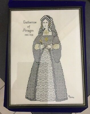 Hand Embroidered Blackwork Black Gold Thread Catherine Of Aragon Picture Panel
