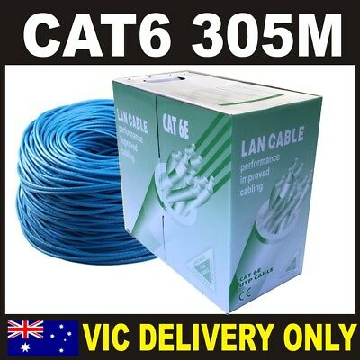 1 X Blue 305M CAT6 UTP Solid CCA Core Network Ethernet LAN Cable Roll *VIC only