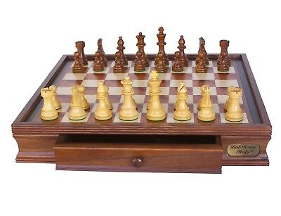 "NEW Dal Rossi Italy Staunton Wooden Chess Set 20"" Drawer pieces sold separately"