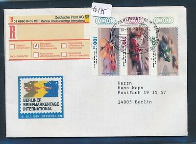 10145) So-R-Label Berlin Briefmarkentage SST Rennsport 18.2.99