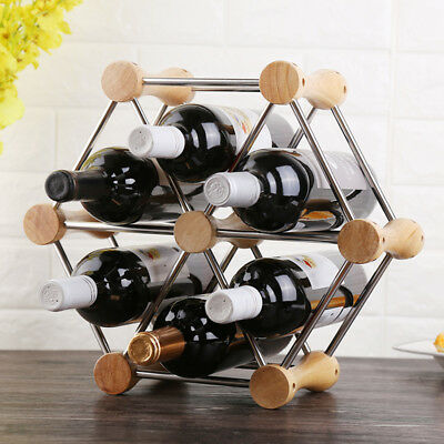 Wood Red Wine Rack 6 Bottle Holder Mount Bar Display Shelf Stainless Steel Rack