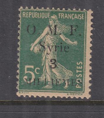 SYRIA, 1920 thin OMF, 3m. on 5c. Blue Green, lhm.