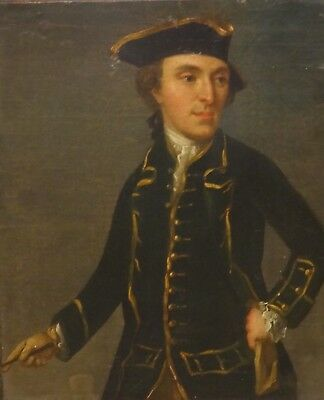 Fine 18th Century English School Naval Captain Gentleman Portrait Oil Painting