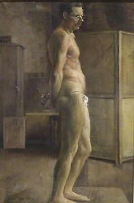 Fine Large Early 20th Century English Studio Nude Man Portrait Harold KNIGHT