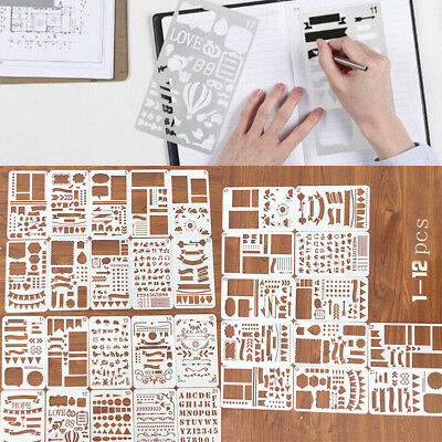 12/20pcs Bullet Journal Stencil Set Plastic Planner DIY Drawing Template Diary Y