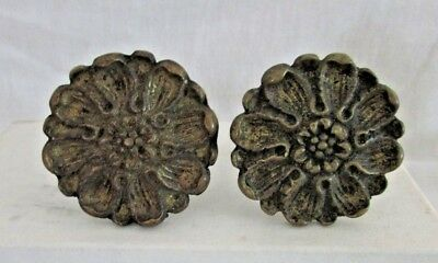 Pair Vintage B.S. & Co. Cast Brass Drawer Pulls Knobs, Ornate Floral Design, #82