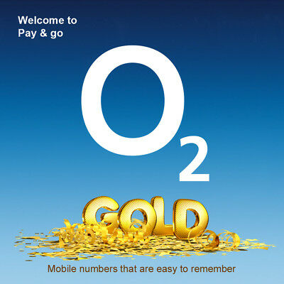 O2 Gold VIP Easy Number Pay As You Go PAYG SIM Card Memorable Mobile Number