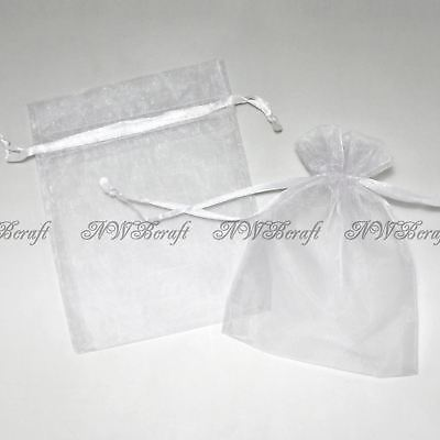 White Organza Gift Favour Bags Wedding Jewellery Drawstring Pouches