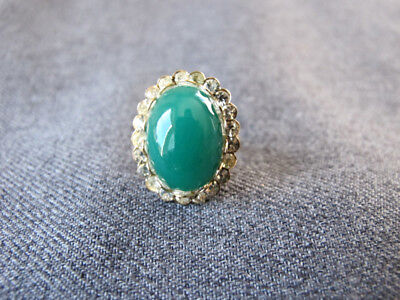 Vintage Chinese Peking Green Glass Cab Rhinestones Golden Metal Adjustable Ring