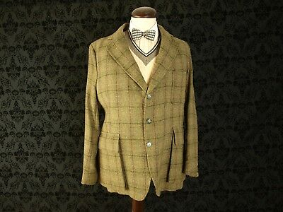 Vintage Tweed Norfolk Shooting Hunting Jacket Balzer Hebden Cord 42 large