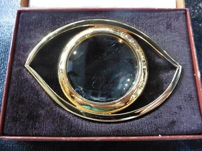 "Magnifier Hermès Gold Plated ""eye Of Cleopatra"" In Sa Box Very Good Condition"