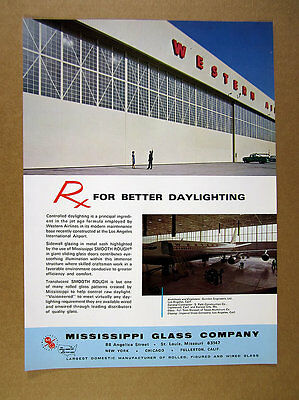 1965 Western Airlines Los Angeles Airport Maintenance Base photo MISCO Glass Ad