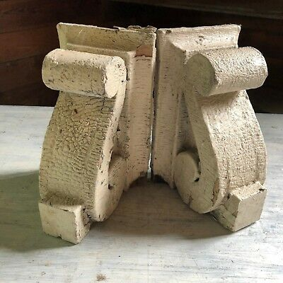 1890's Antique Pair(2) Wood Corbels Brackets Victorian Gingerbread White 412-18
