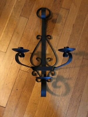 Lg VTG Wrought Iron Wall Candle Sconce Holder Spanish Revival Black Candelabra