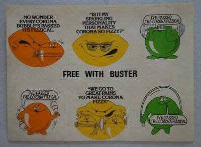 Buster comic Free Gift Stickers 25 Feb 1978 Corona Fizzy drink (phil-comics)