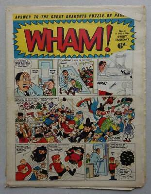 Wham comic #4 - 11 Jul 1964 Section of cover missing (phil-comics)