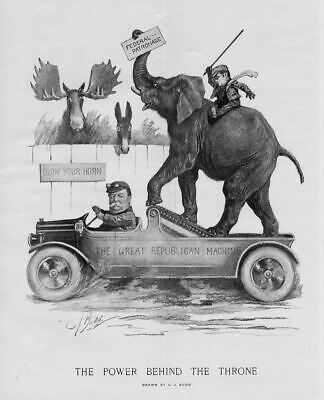 Progressive Bull Moose Party And Democratic Donkey Sherman Republican Elephant
