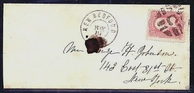 """#65 w/ FANCY """"C-IN-GRID"""" CANCEL ~ S-E #GE-P 27.....ON NEW BEDFORD, CONN. COVER"""