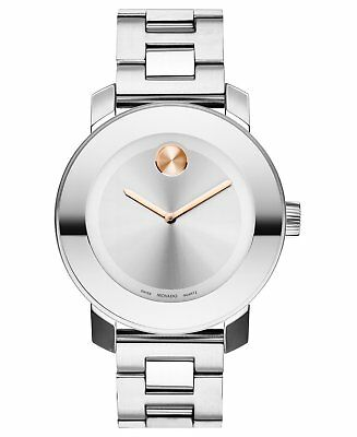 Movado Bold Silver Dial Rose Gold Hands Silver Tone Women's Watch 3600084