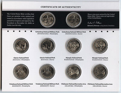 2011 America the Beautiful Quarters - Uncirculated Coin Set - US Mint - AT64