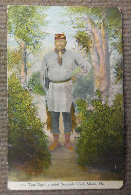 Antique 1912 Tom Tiger Noted Seminole Chief Miami FL Postcard