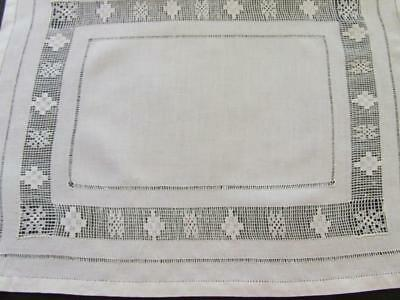 White Vintage Lingerie, Hosiery or Doily Bag - Drawn Threadwork & Lace Inserts