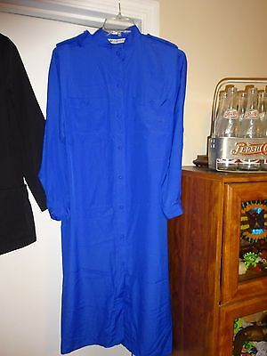 MS CHAUS Ladies Size 12 Royal Blue Dress 100% Polyester Long Sleeve