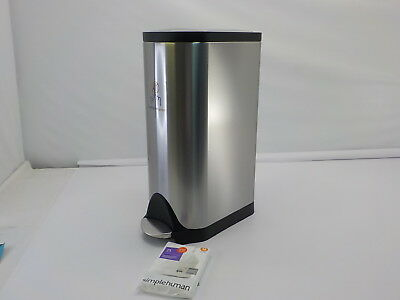 simplehuman 30 Liter/8 Gallon Stainless Steel Butterfly Lid Kitchen Trash Can