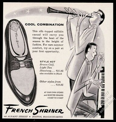1957 jazz clarinet piano duo art French Shriner men's shoes vintage print ad