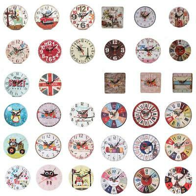 Various Retro Creative Imitation Wood Round Wall Clocks Small Clock Home Decor
