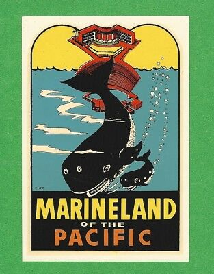 "Vintage Original 1957 Souvenir ""marineland Of The Pacific"" Los Angeles Decal Art"