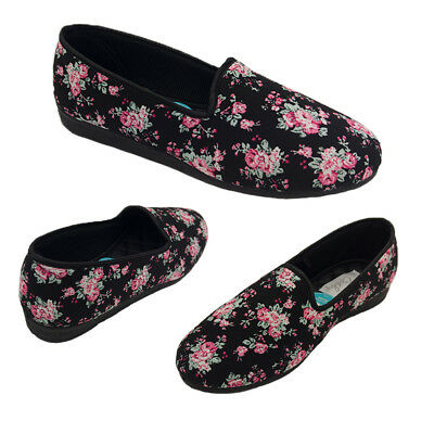 Ladies Slippers Grosby Dee Slipper Floral Fabric Quilted Lining Sizes 6-11 NEW