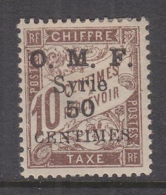 SYRIA, 1921 Postage Due, 1921 (May) 50 Centimes on 10c. Brown, lhm.