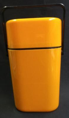 RETRO DECOR ORANGE TWO BOTTLE DRINK COOLER WITH ICE BRICK AUSTRALIA 1980's