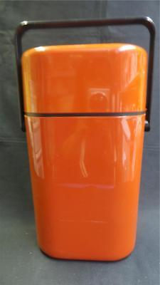 RETRO DECOR TAN TWO BOTTLE DRINK COOLER WITH ICE BRICK AUSTRALIA 1980's
