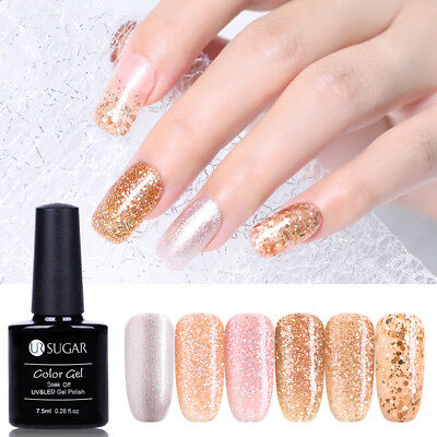 UR SUGAR 7.5ml Shiny Gold Glitter Gel Polish Soak-off UV LED Nail Gel Varnish