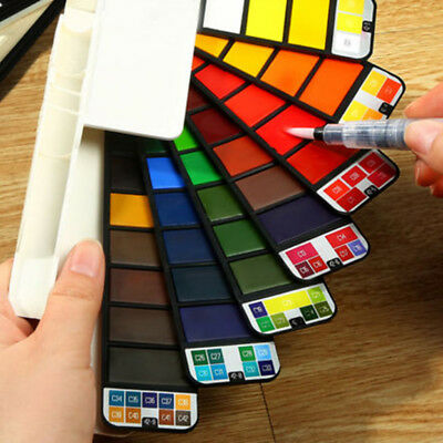 18/25//33/42 Colors Solid Foldable Watercolor Pigment Set With Water Brush Pen