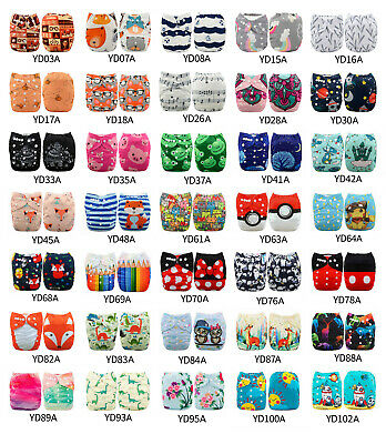 U Pick ALVA Cloth Diapers Lot One Size Reusable Washable Pocket Nappies + Insert