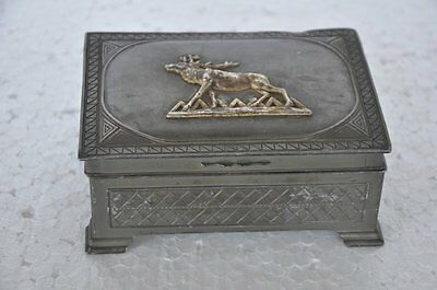 Old Antimony Engraved Stag Fitted Unique Jewellery Box , Japan