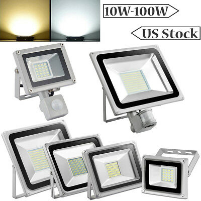 Led Flood Light 100W 50W 30W 20W 10W PIR Motion Sensor Outdoor Lighting Fixtures