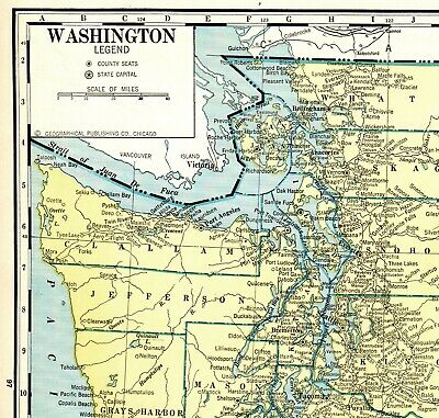 graphic about Printable Map of Washington State identify 1937 ANTIQUE WASHINGTON Country Map Uncommon Poster Print Dimension Map of Washington 5531